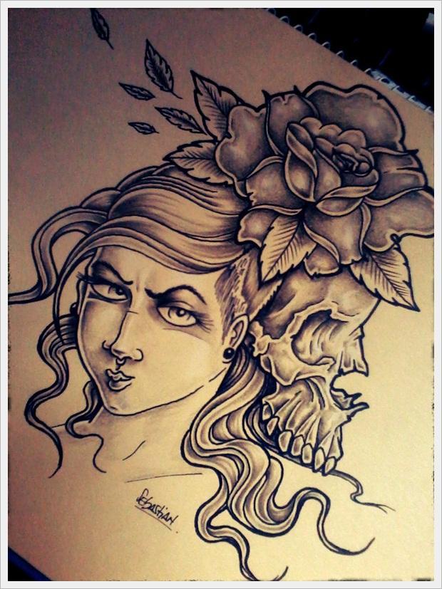 Skull and girl tattoo design