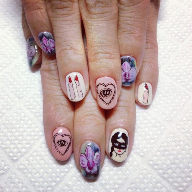 Маникюр рисунок на каждом ногте